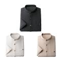 シャツ メンズ 七分袖 セット 夏 匠 麻混スタンド衿七分袖シャツ 同サイズ3枚組 41180