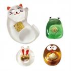 ガラス箸置招金猫