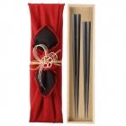 夫婦箸 縞黒檀 最高級箸 結婚祝い 桐箱 箸 ペア 二膳セ…