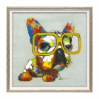 絵画 インテリア 額入り 壁掛け 犬 オイルペイントアー…