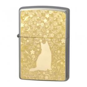 zippo ジッポー ライター オイルライター メタルプレート ゴールド ネコと花