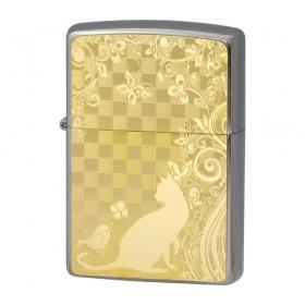 zippo ジッポー ライター オイルライター メタルプレート ゴールド ネコと小鳥