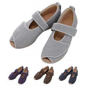 介護シューズ 介護靴 施設用 院内用 あゆみ シューズ オープンマジックIII 3E 紫 1035