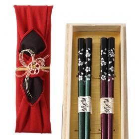 名入れ彫刻無料 夫婦箸 銀桜花 グリーン パープル