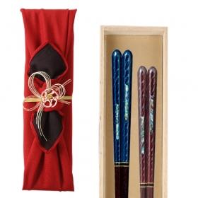 夫婦箸 結婚祝い 桐箱 箸 ペア 二膳セット 匠 若狭塗 貝螺鈿 夫婦箸 彩雅 一双