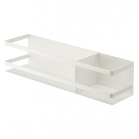 冷蔵庫 マグネット 収納 冷蔵庫横マグネットワイド収納ラック プレート ホワイト