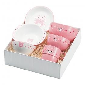 出産祝い 食器セット 子供用 キッズ 食洗機対応 食洗器対応 レンジ対応 山中塗 ハグミー6点セット クマ Y15240-1