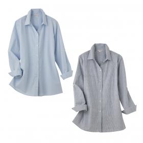 体型カバー 羽織れるロールアップチュニックシャツ