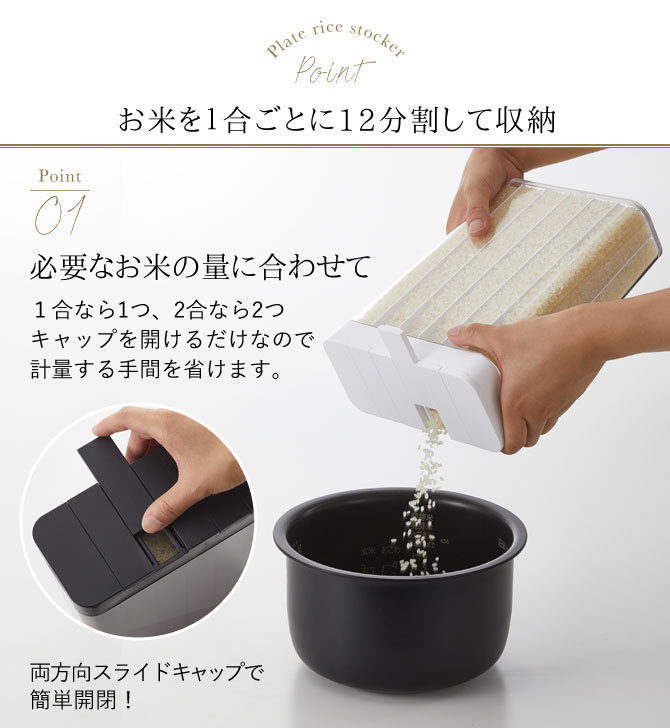 米びつ スリム 白 おしゃれ 1合分別 冷蔵庫米びつ プレート 03822