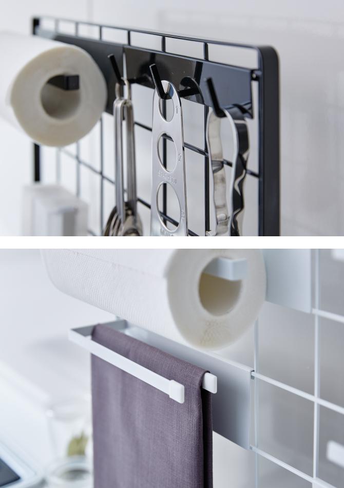 キッチン小物 収納 パネル 壁掛け キッチン自立式メッシュパネル タワー 白い 黒 tower